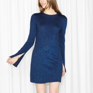 & Other Stories Metallic Blue Knit Dress NWT Med